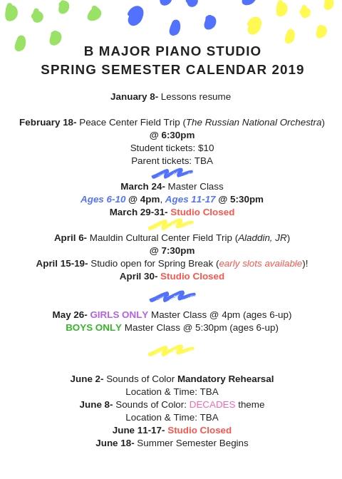 Spring Semester 2019